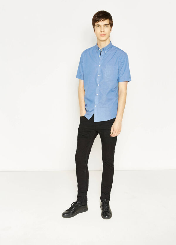 Casual cotton shirt with button down collar | OVS