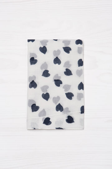 Heart print scarf, White/Blue, hi-res