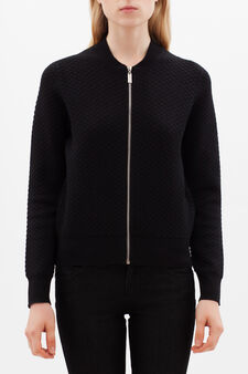 Cropped cardigan with zip, Black, hi-res