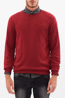 Round neck sweater, Radish Red, hi-res