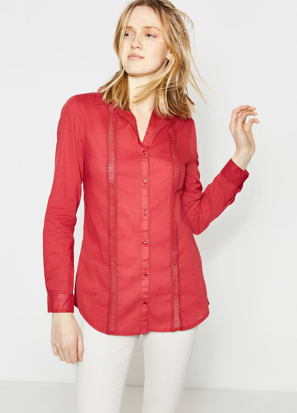 Cotton shirt with openwork | OVS