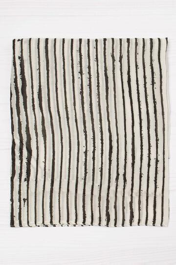 Sciarpa con stampa a righe, Bianco/Nero, hi-res