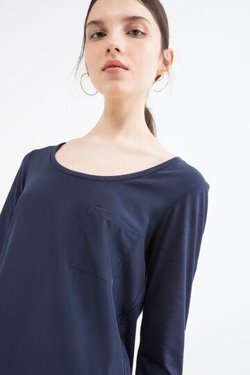 Viscose blend T-shirt with pocket, Navy Blue, hi-res
