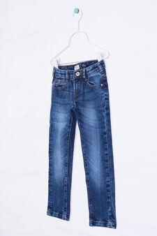 5-pocket jeans with worn effect, Medium Wash, hi-res
