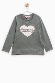 T-shirt with patches and sequins, Dark Grey Marl, hi-res