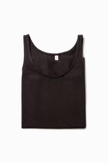 Solid colour stretch cotton under top, Black, hi-res