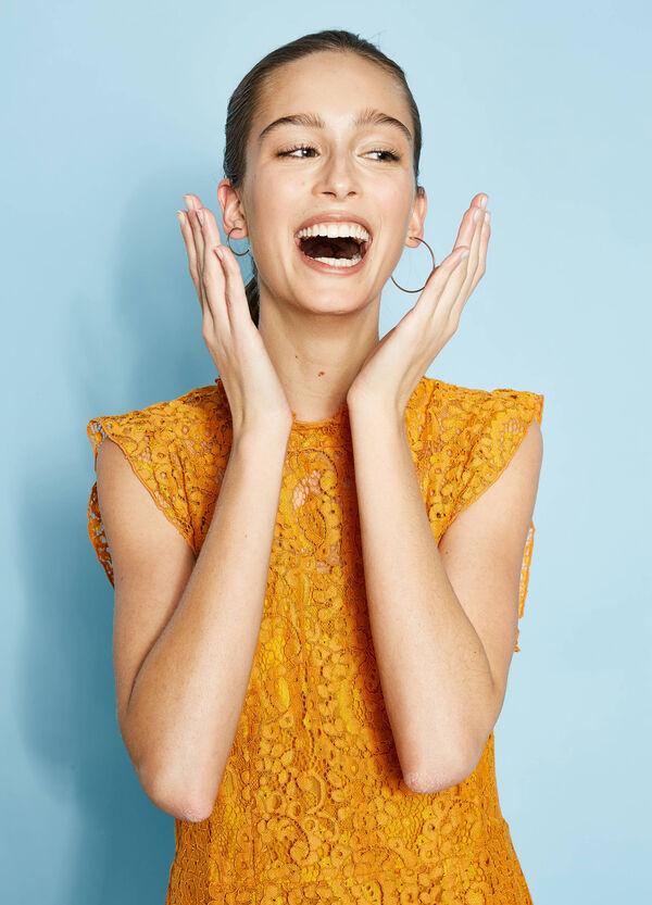 Lace longuette dress with flounces | OVS