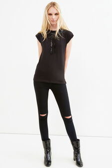 Cotton blend T-shirt with sequins, Black, hi-res