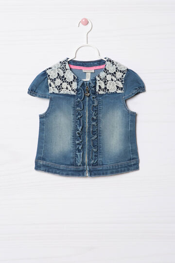 Stretch denim waistcoat with lace