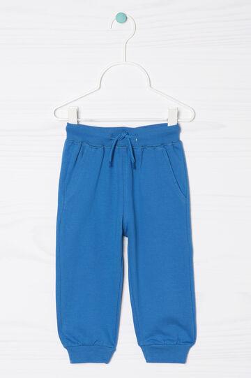 Pantaloni tuta puro cotone coulisse, Blu royal, hi-res