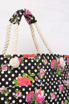 Patterned cotton shoulder bag, Black, hi-res