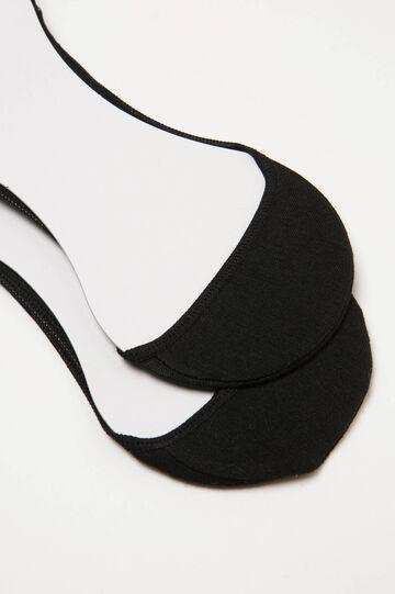 Solid colour cotton shoe liners, Black, hi-res