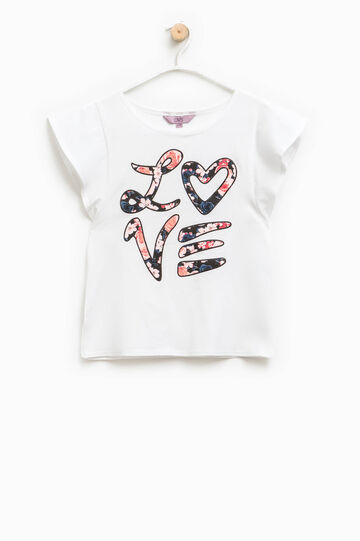 T-shirt with cap sleeves and print, White, hi-res