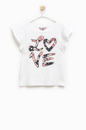 T-shirt maniche ad aletta e stampa, Bianco, hi-res