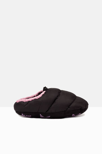 Padded slippers with patterned sole, Black, hi-res