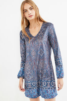 Short dress with all-over paisley print, Blue, hi-res