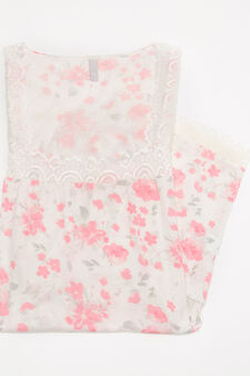 Patterned sleepsuit in 100% viscose, White/Pink, hi-res