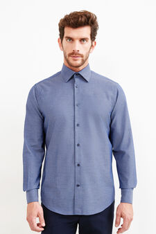 Camicia formale regular fit micro fantasia, Blu scuro, hi-res