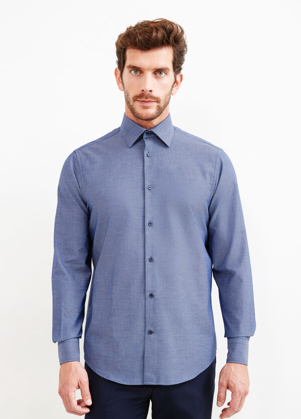 Regular-fit, cotton formal shirt with micro pattern | OVS