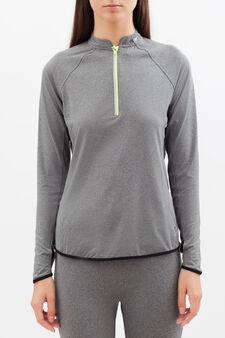 T-shirt sportiva maniche lunghe, Grigio chiaro, hi-res