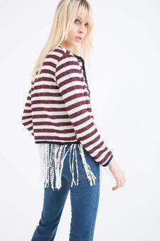 Fringed cotton blend blazer, White/Red, hi-res