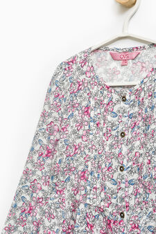 Floral pattern shirt in cotton, Multicolour, hi-res