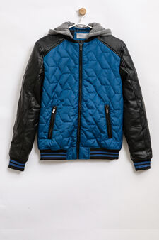 Jacket with hood and ribbing, Black, hi-res