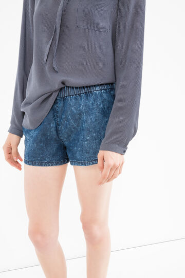 Regular fit denim shorts with misdyed-effect, Dark Blue, hi-res