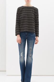 Sweatshirt in cotton lurex blend, Black, hi-res