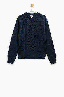 Wool blend knitted pullover, Black/Blue, hi-res
