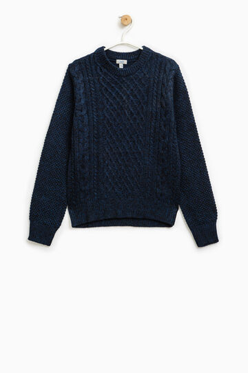 Wool blend knitted pullover, Black/Blue, hi-res