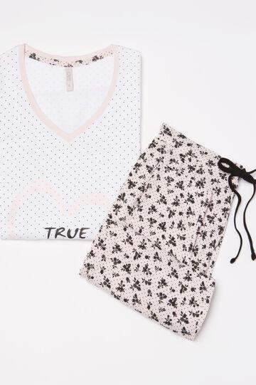 V-neck pyjamas in 100% cotton, White/Pink, hi-res