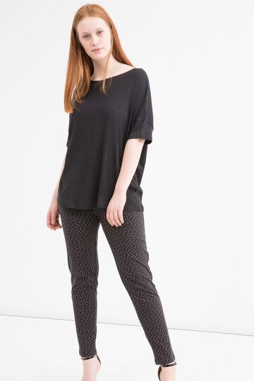 Curvy stretch patterned leggings, Black, hi-res