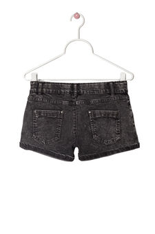 Shorts jeans delavé stretch, Nero, hi-res