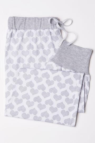 Pantaloni pigiama cotone a cuori, Bianco/Grigio, hi-res
