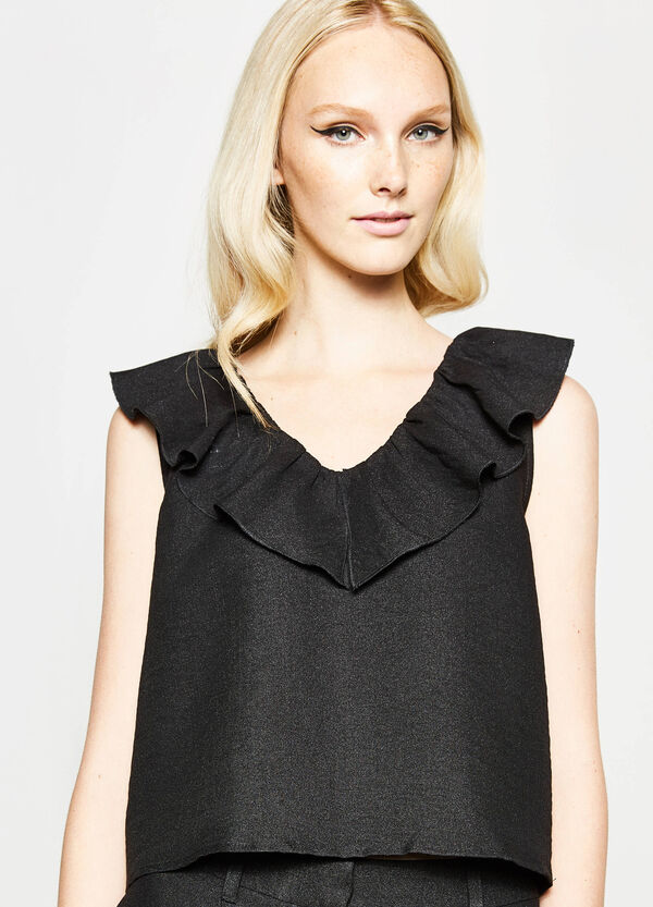Sleeveless crop blouse with flounces | OVS