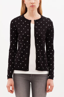 Cardigan with all-over print, Black, hi-res