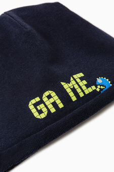 Beanie cap with print on front, Navy Blue, hi-res