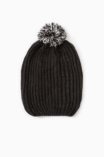 Cappello cuffia tricot con pon pon, Nero, hi-res