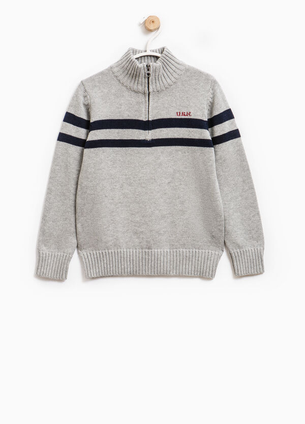 100% cotton pullover with zip and embroidery | OVS