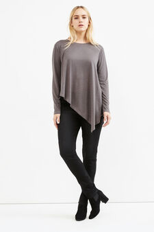Curvy T-shirt with asymmetric hem, Grey, hi-res