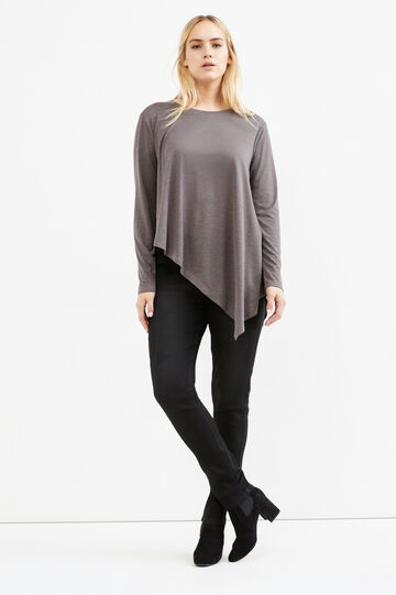 Curvy T-shirt with asymmetric hem, Grey, hi-res