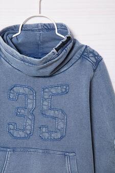 Cotton sweatshirt with high neck., Royal Blue, hi-res