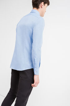 Slim-fit formal shirt in 100% cotton, Soft Blue, hi-res