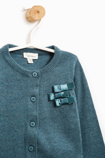 Cotton cardigan with bows, Green, hi-res