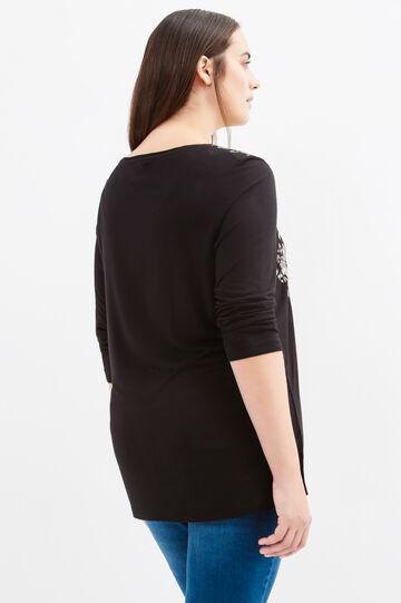 Curvy T-shirt in 100% printed viscose, Black, hi-res