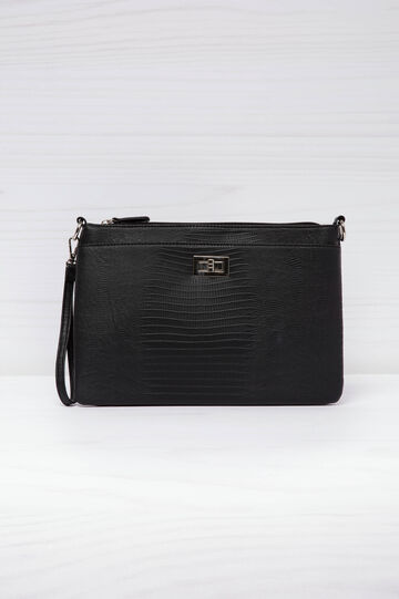 Faux croc clutch., Black, hi-res