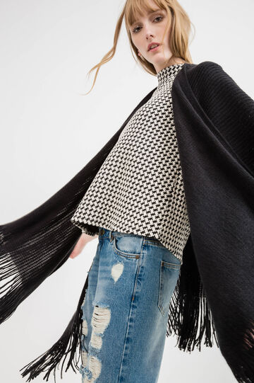 Solid colour cape with fringe, Black, hi-res