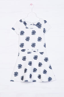 Stretch dress with bow and print, White, hi-res