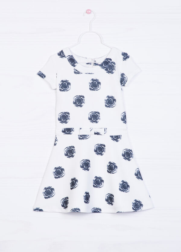 Stretch dress with bow and print | OVS